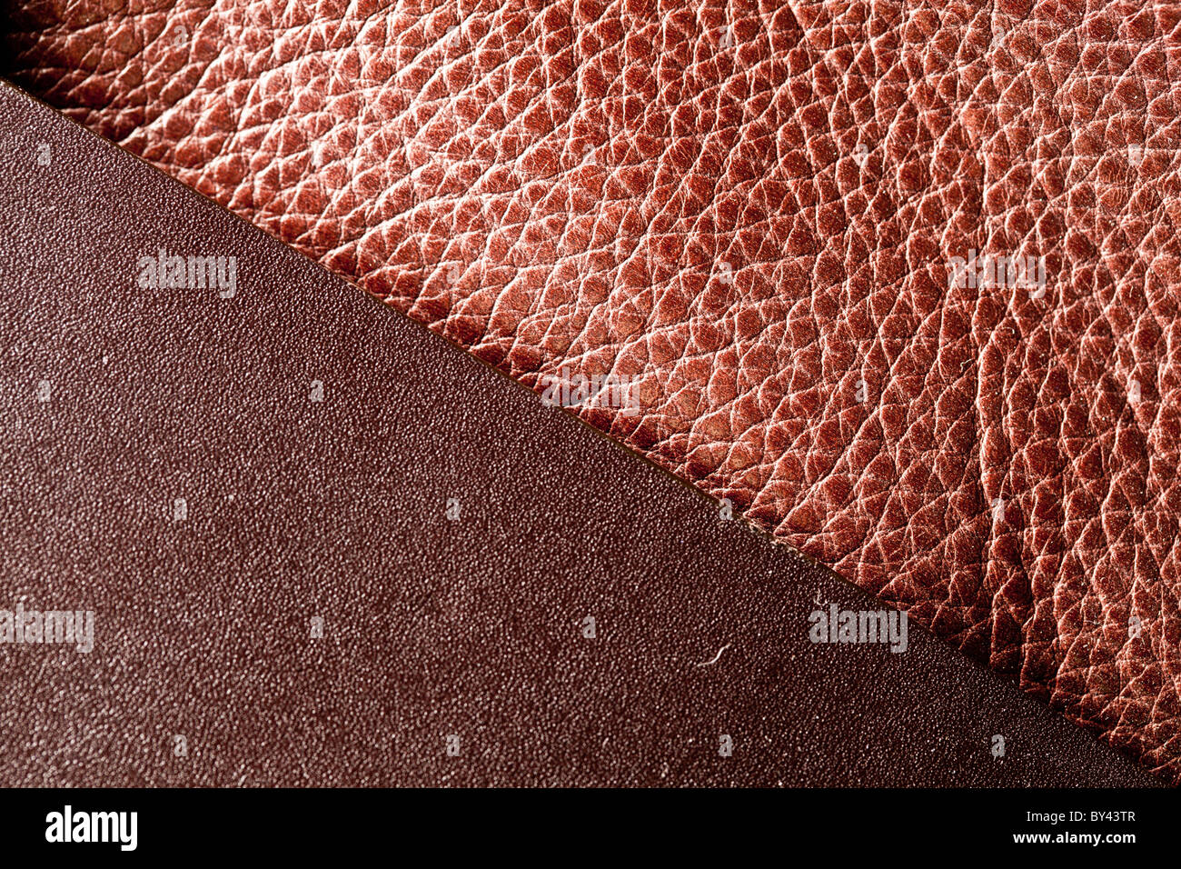 Image texture of brown leather. - Stock Image