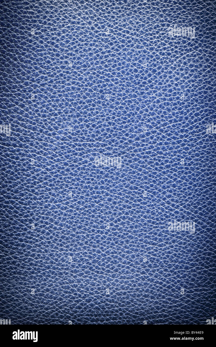 Image texture of blue leather. - Stock Image