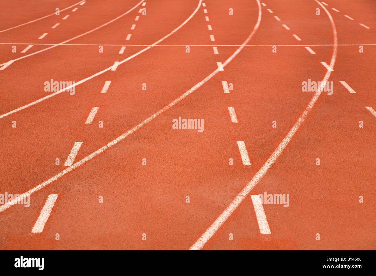 Red stadium race track close up shot - Stock Image