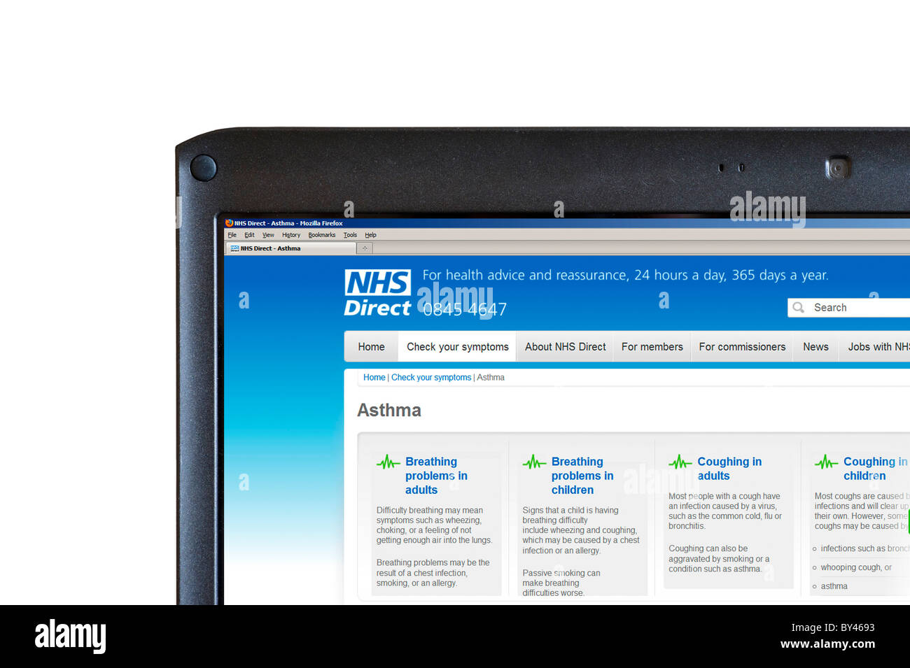 Looking at symptoms on the NHS Direct website, UK - Stock Image