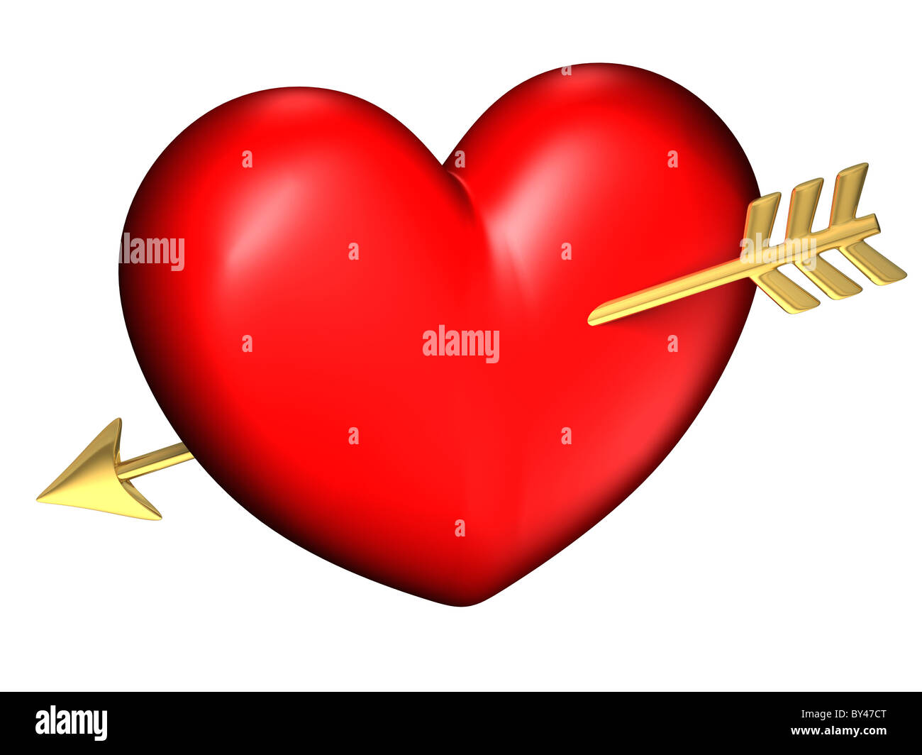 Big red and chubby heart alone with a golden arrow - Stock Image