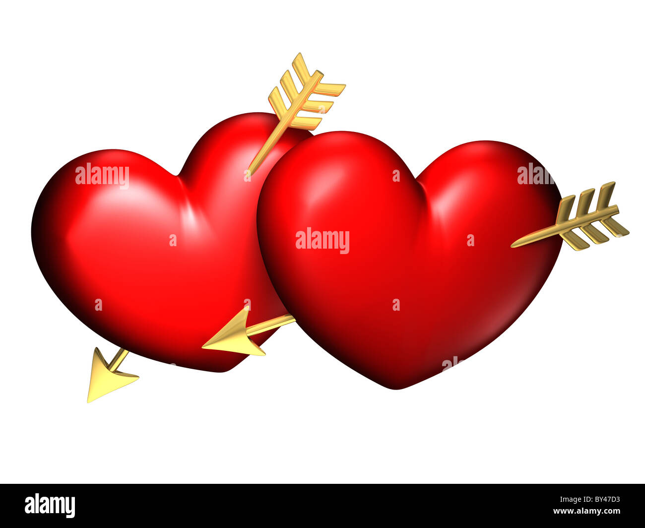 Two big red and chubby hearts with golden arrows - Stock Image