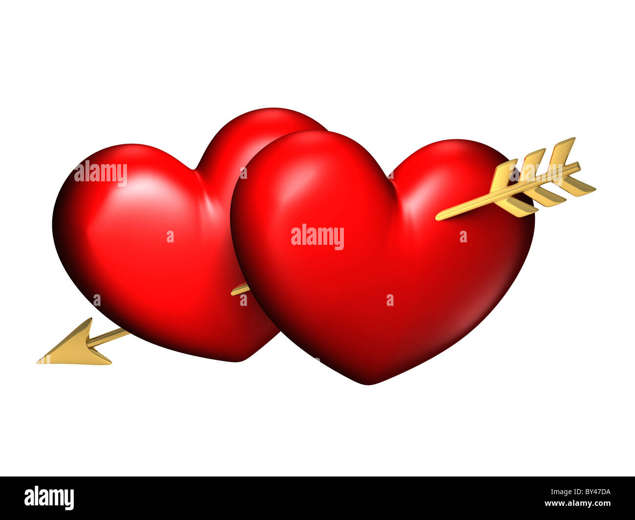 Two big red and chubby hearts with one golden arrow - Stock Image