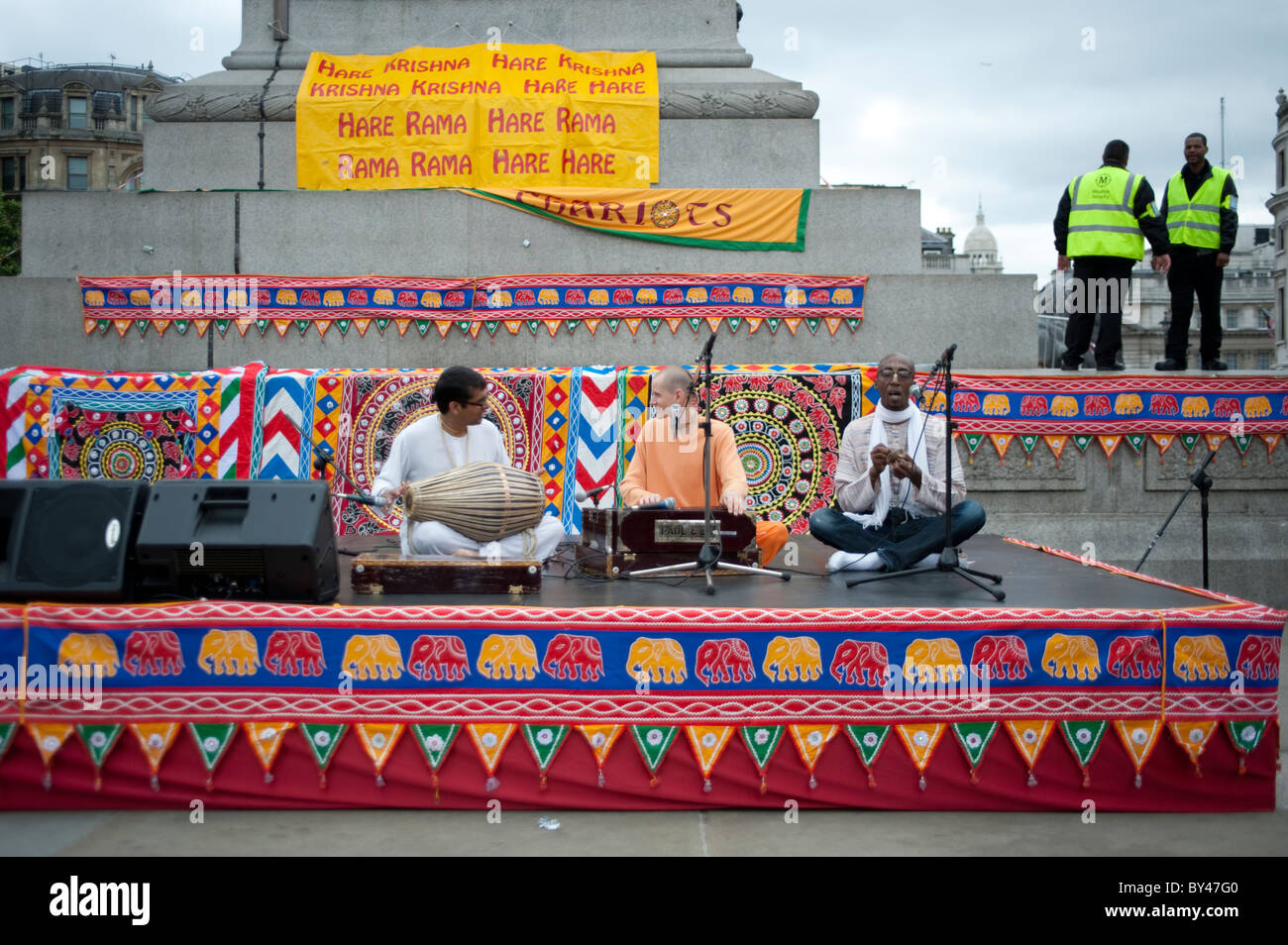 Musicians at celebration of  Ratha Yatra The Hindu Festival of Chariots,Trafalgar Square,London 2010 Stock Photo