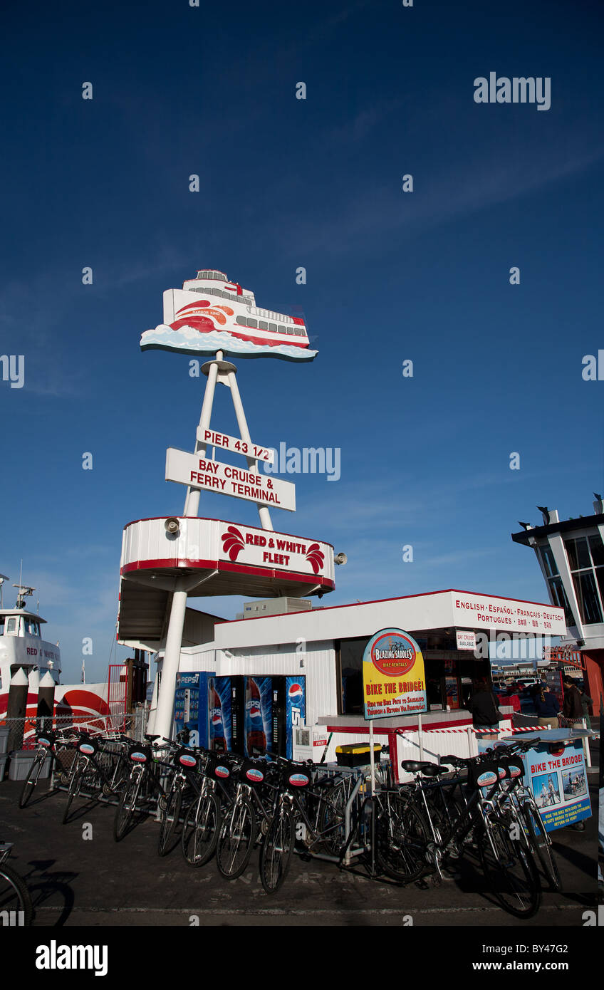 Red and White Fleet ticket booth Pier 43 Fisherman's Wharf San Francisco California - Stock Image