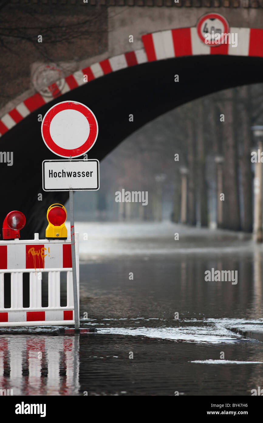road closed because flooding of the river Saale in Halle (Germany); Hochwasser in Halle (Saale) 2010 - Stock Image