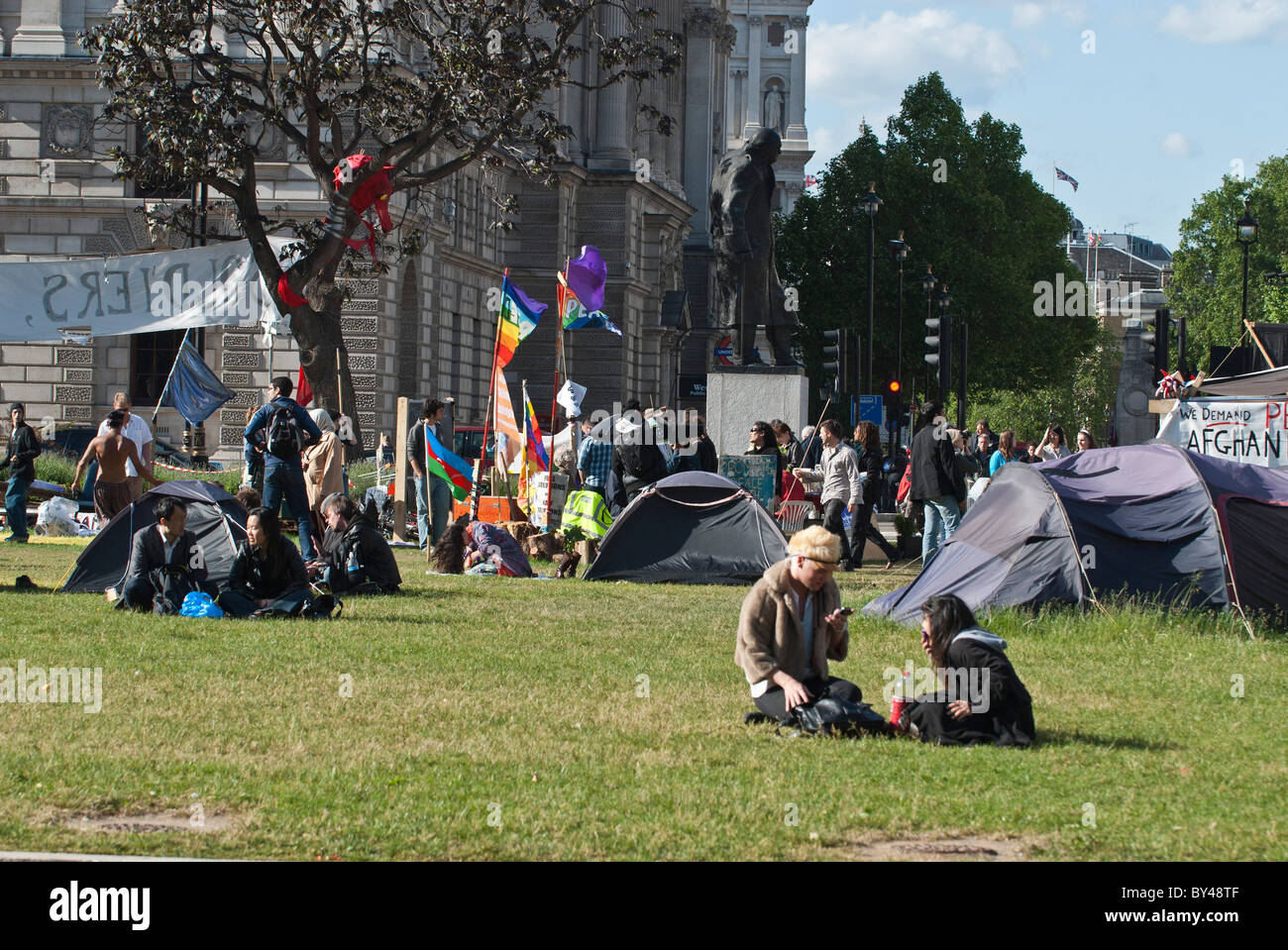 'Democracy Village' protesters and Peace protesters Parliament Square Westminster London . - Stock Image