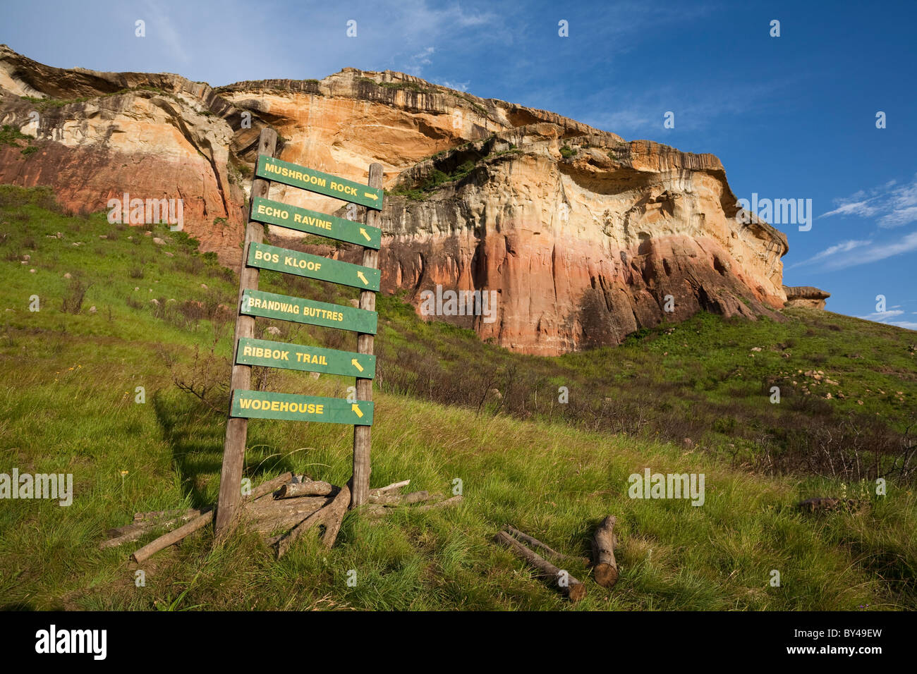 Walking trail signs near the sandstone cliffs in the Golden Gate Highlands National Park, South Africa. Stock Photo