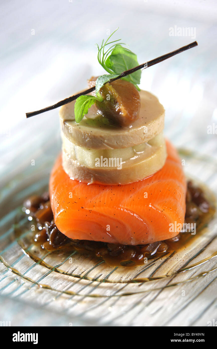 organic salmon mi-cuit, with spiced lentils, apple compote, fig