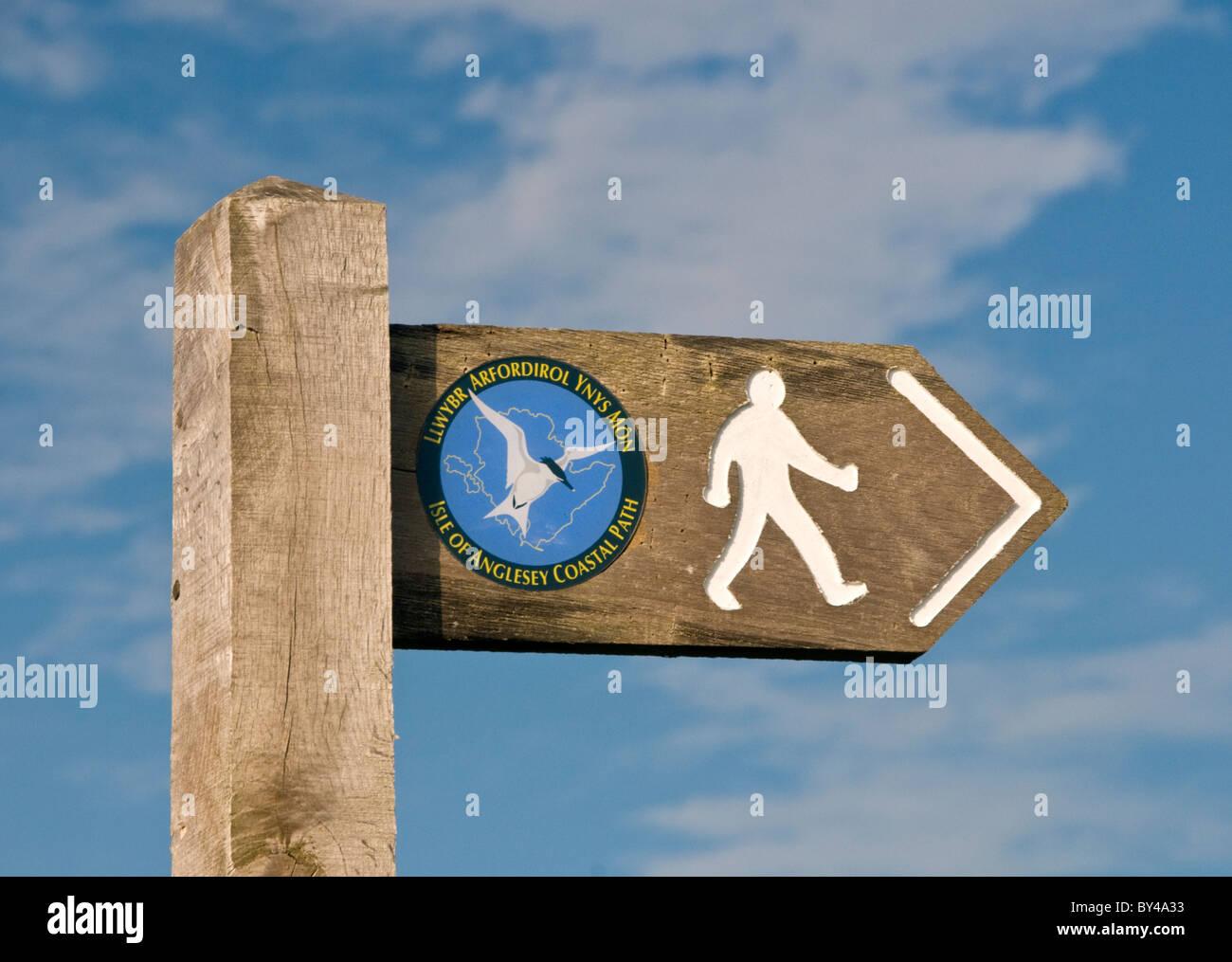 Isle of Anglesey Coastal Path Signpost, Anglesey, Wales, UK - Stock Image