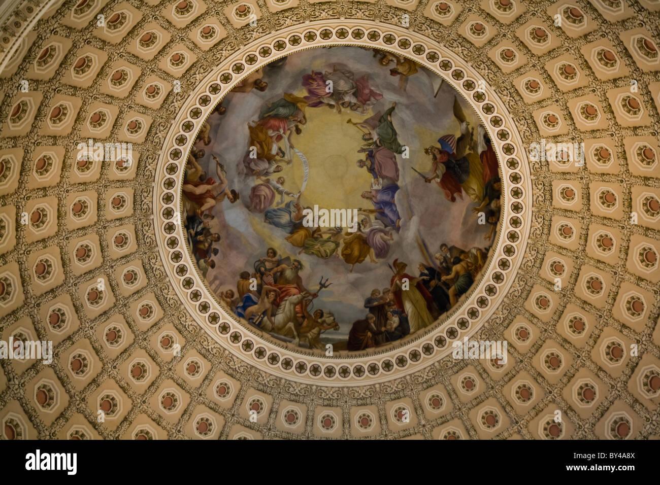 Beautiful dome of the Rotunda in the U. S. Capitol building in Washington, D. C. depicting George Washington. - Stock Image