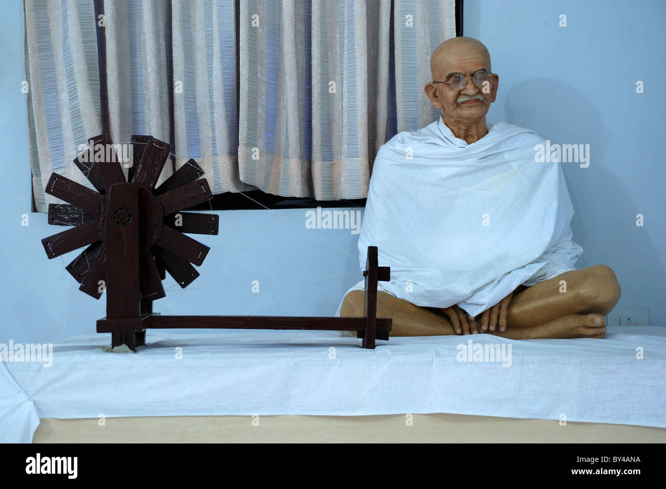 wax model of Mohandas Karamchand Gandhi or mahatma gandhi in bay watch water theme park,kanyakumari,tamilnadu,india - Stock Image