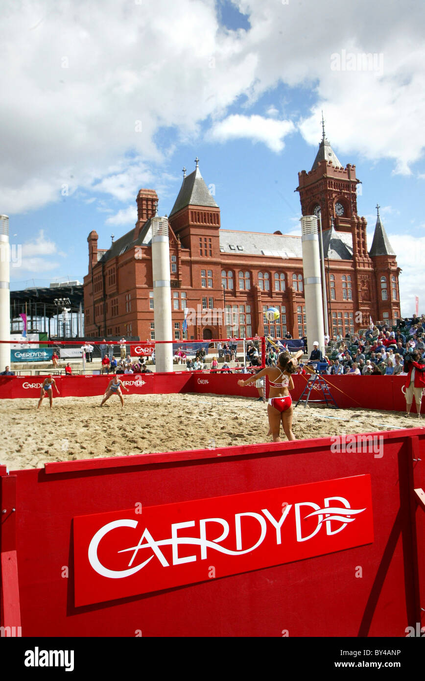 Beach volleyball at Cardiff Harbour Festival. - Stock Image