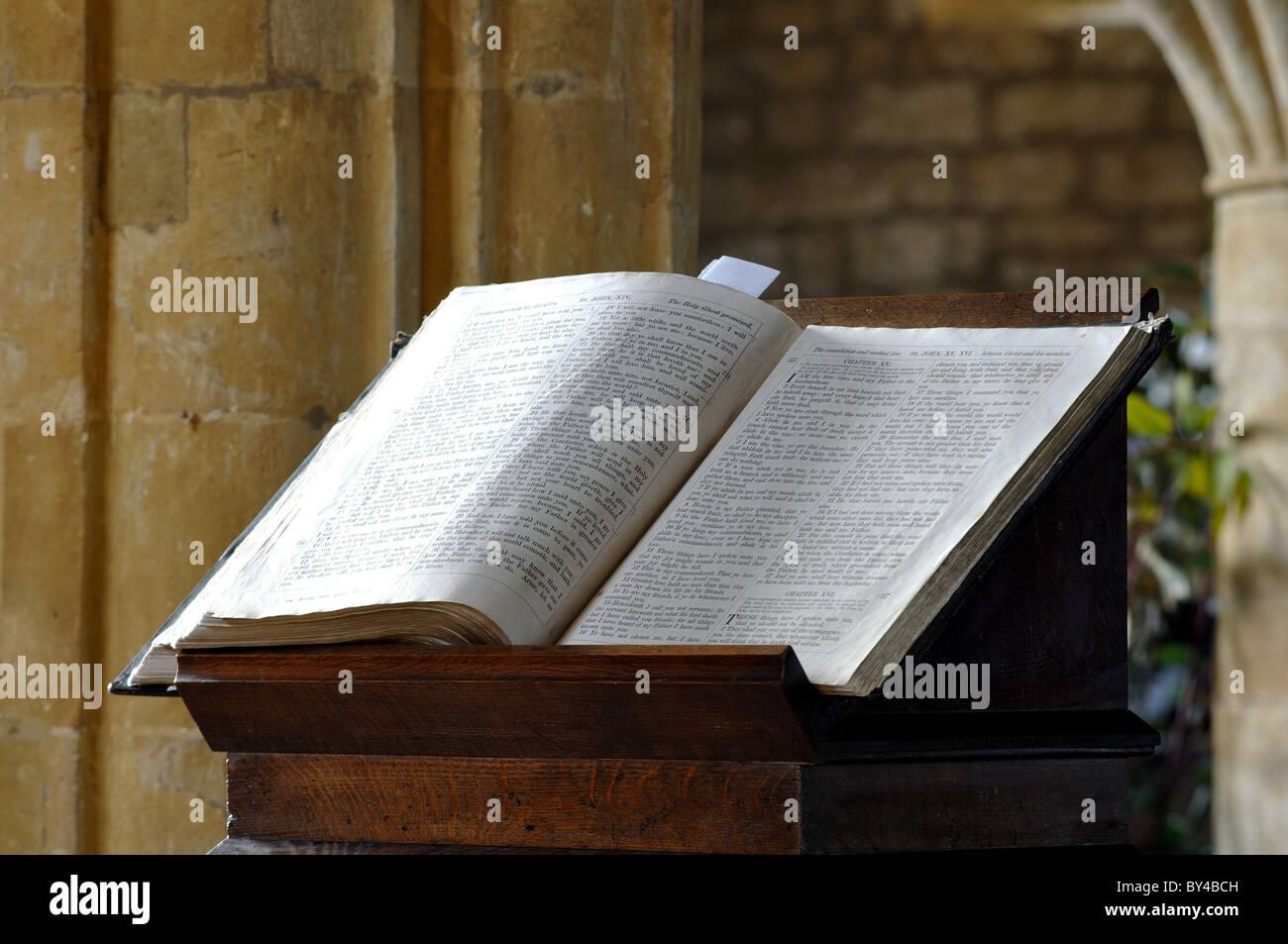 Bible on lectern in church - Stock Image
