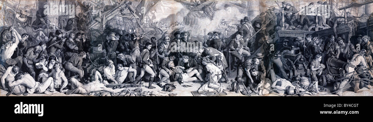 The Death of Nelson, superb Victorian engraving of the 1864 epic mural in the Palace of Westminster by Daniel Maclise - Stock Image