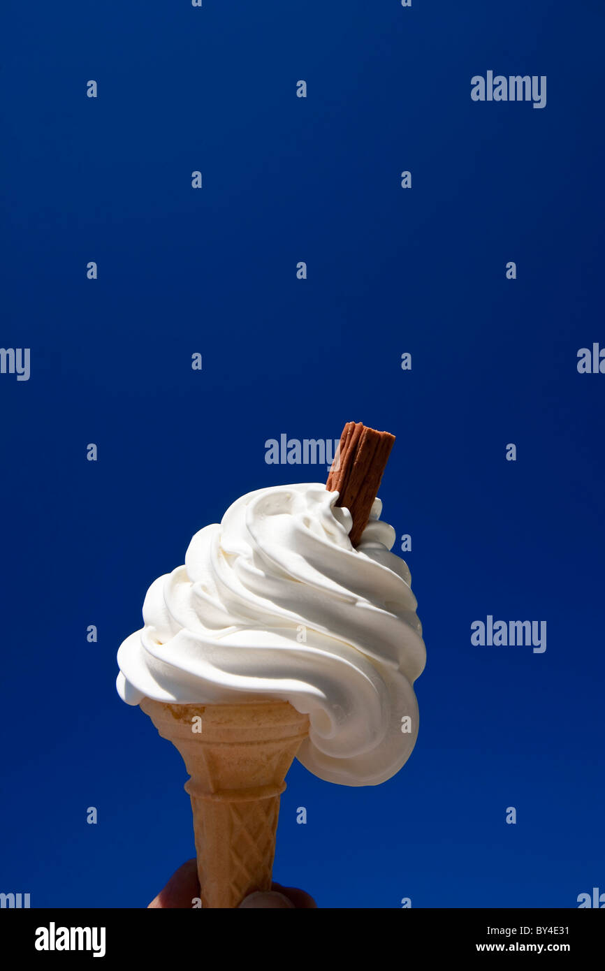 Vanilla Ice Cream in cone with chocolate flake, or 99 - Stock Image