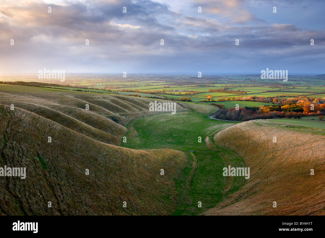 'The Manger' Uffington. Undulating hillside known as the 'Giant Stairs' - Stock Image