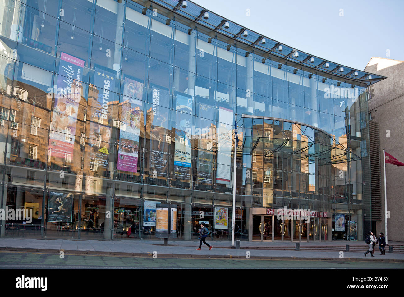 Glass frontage and main entrance of Edinburgh Festival Theatre, a modern (1994) addition, by Colin Ross, to the - Stock Image