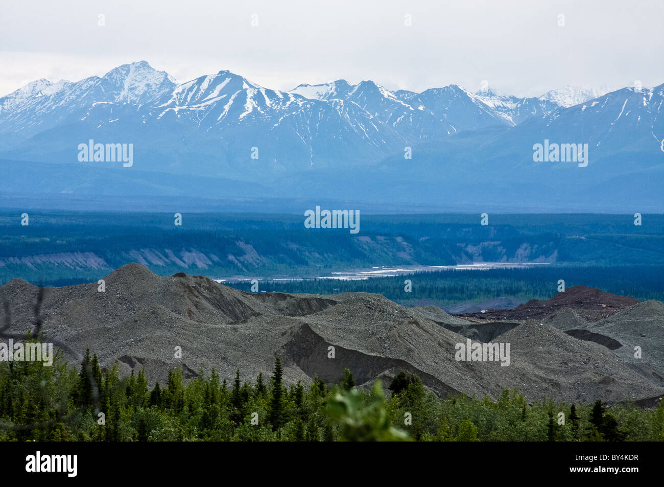 Root Glacier moraine and the Chugach Mountains - Stock Image