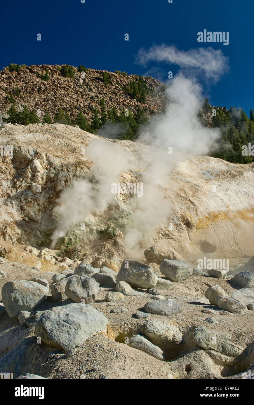 Fumaroles steam vents at Bumpass Hell area in Lassen Volcanic National Park, California, USA - Stock Image