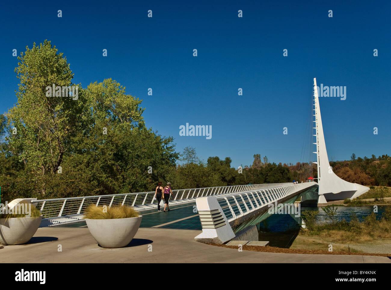 Pedestrian Sundial Bridge, designed by Santiago Calatrava, over Turtle Bay at Sacramento River in Redding, California, - Stock Image