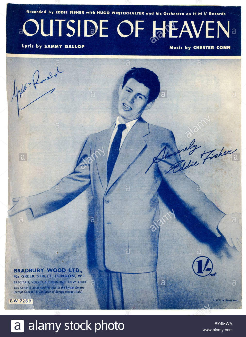 Old Sheet music score front cover titled