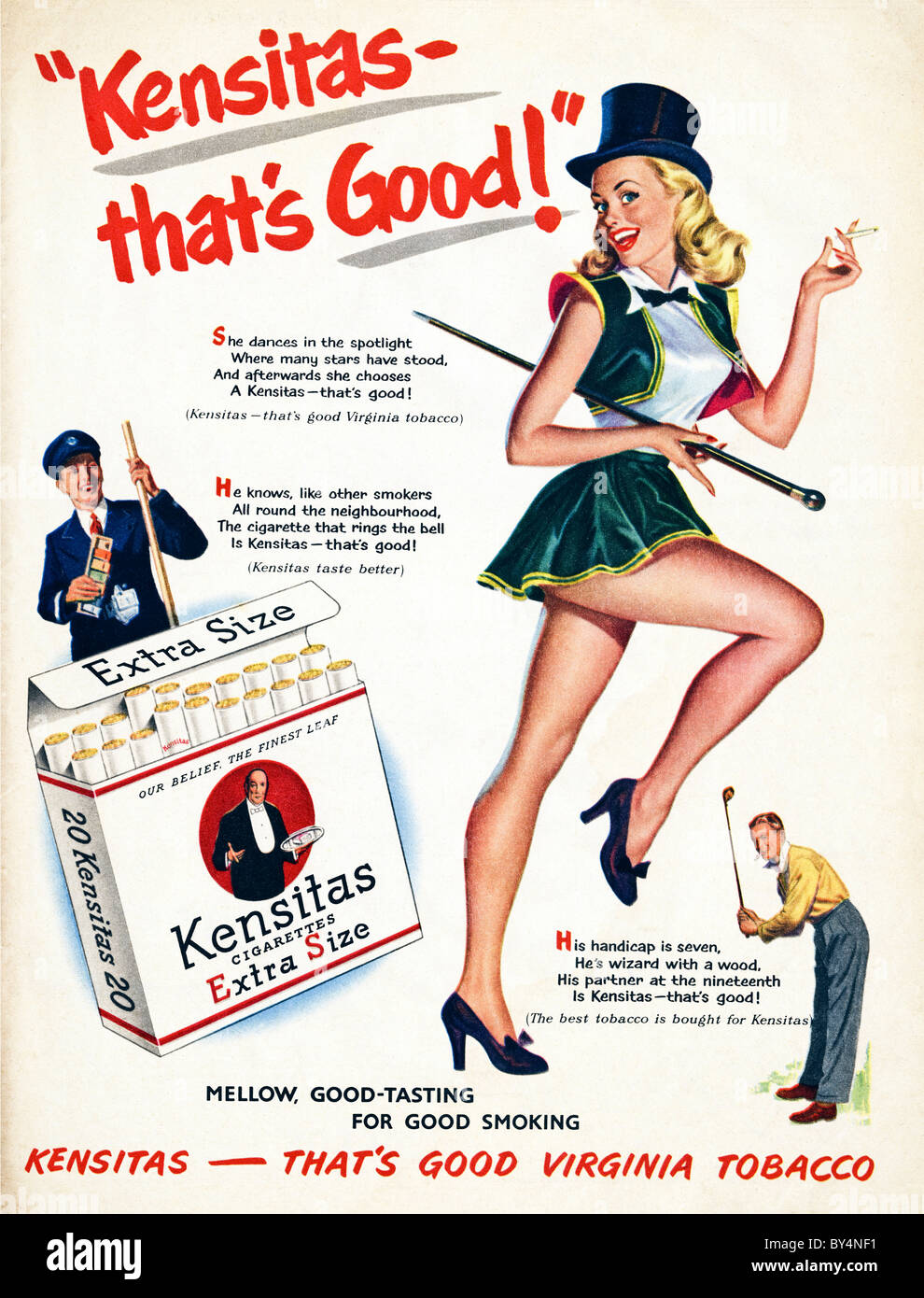 1950s full page colour advertisement for Kensitas cigarettes Stock Photo