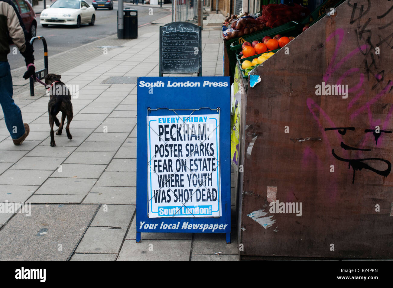 Peckham. Newspaper placard - Stock Image