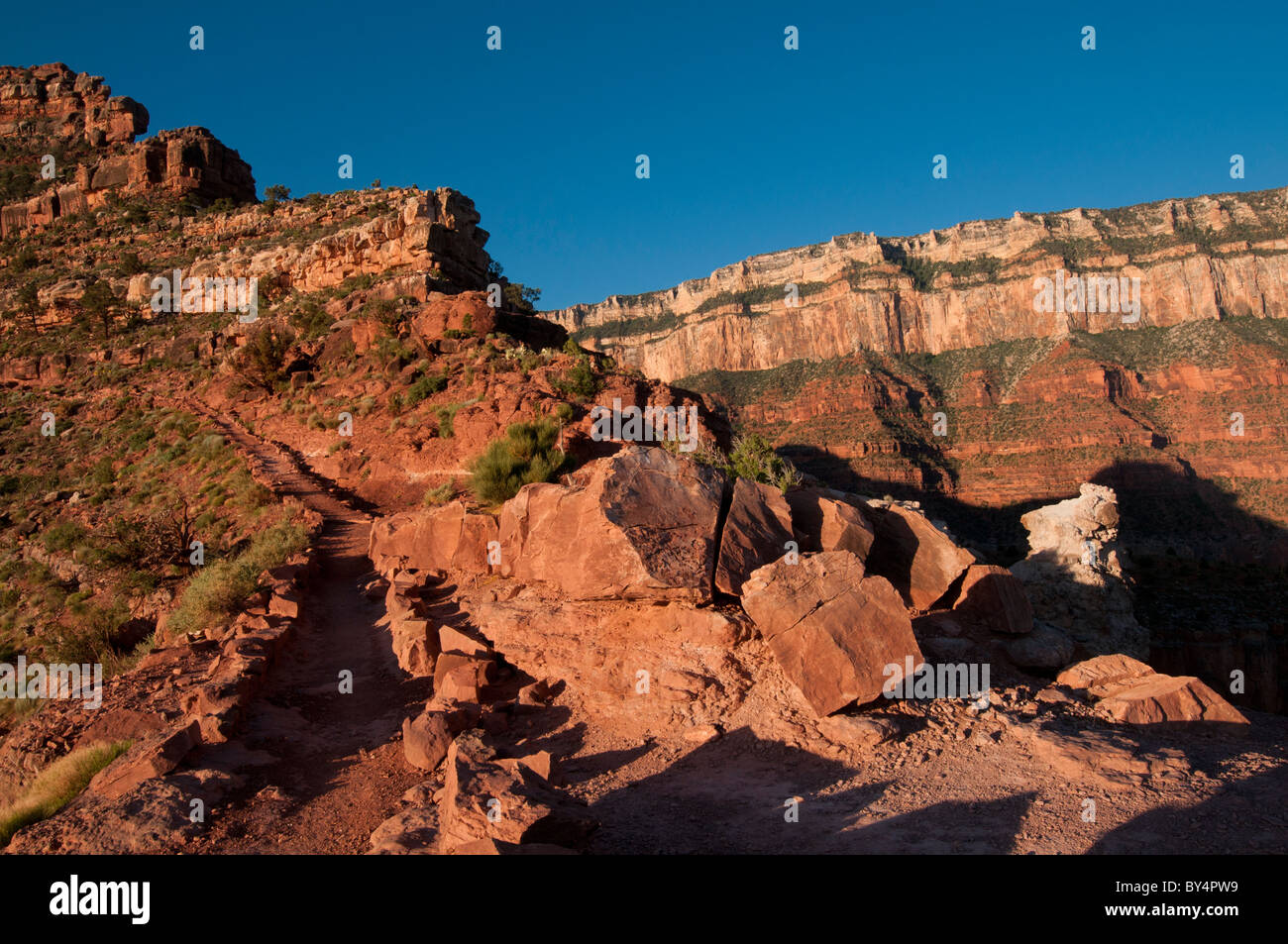 The South Kaibab Trail in Grand Canyon National Park as it approaches the south rim - Stock Image
