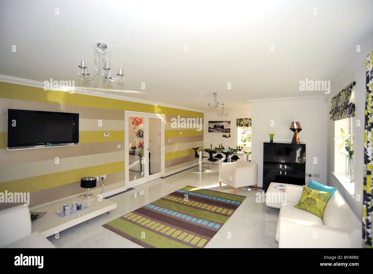 Modern Show Home Lounge With Furniture And Marble Floor Tiles Stock Photo Alamy