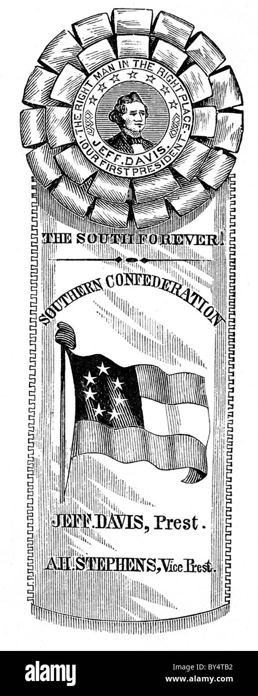 In 1860, prior to the start of the American Civil War (1861-1865), many pro-secessionists wore the secession rosette - Stock Image