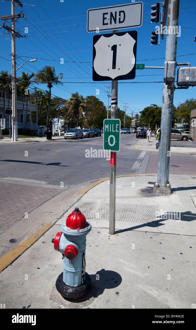 US 1 mile marker 0 in Whitehead Street, Key West, Florida, USA Stock Photo