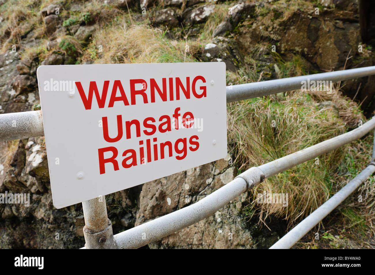 Sign - 'Unsafe Railings' - Stock Image