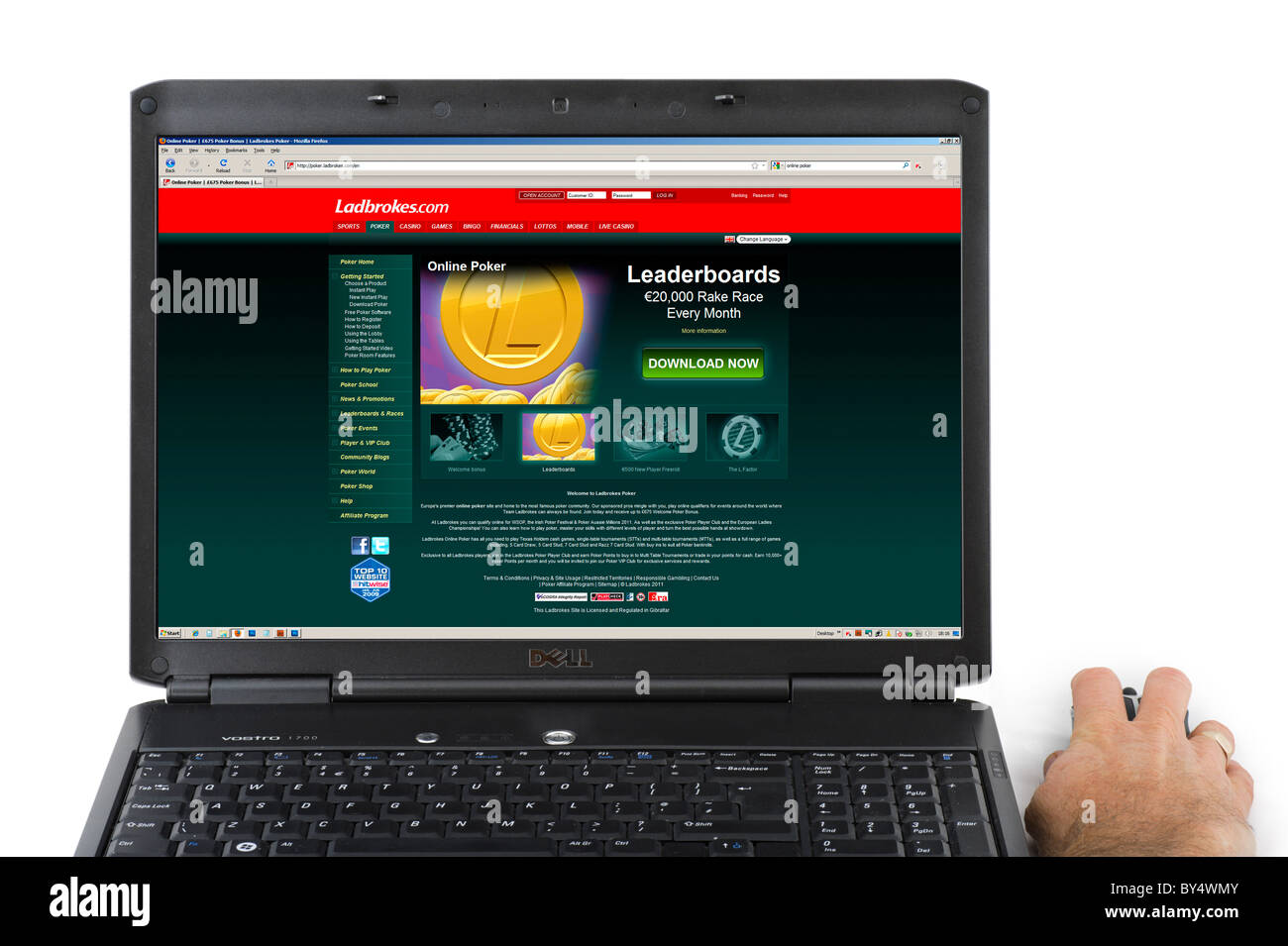Playing online Poker with Ladbrokes bookmakers, UK - Stock Image