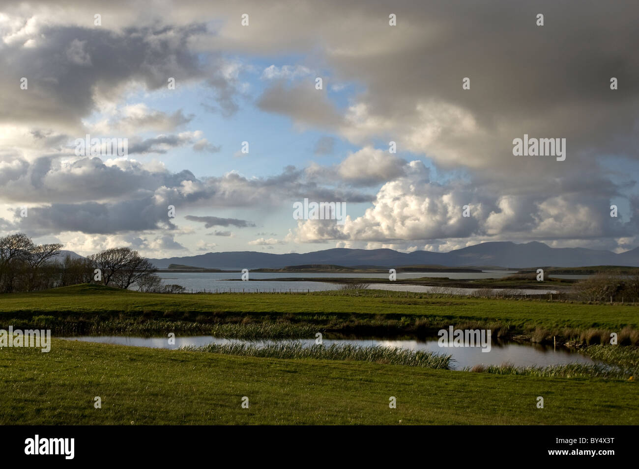 Loch and mountains which typify the scenery of Western Ireland - Stock Image