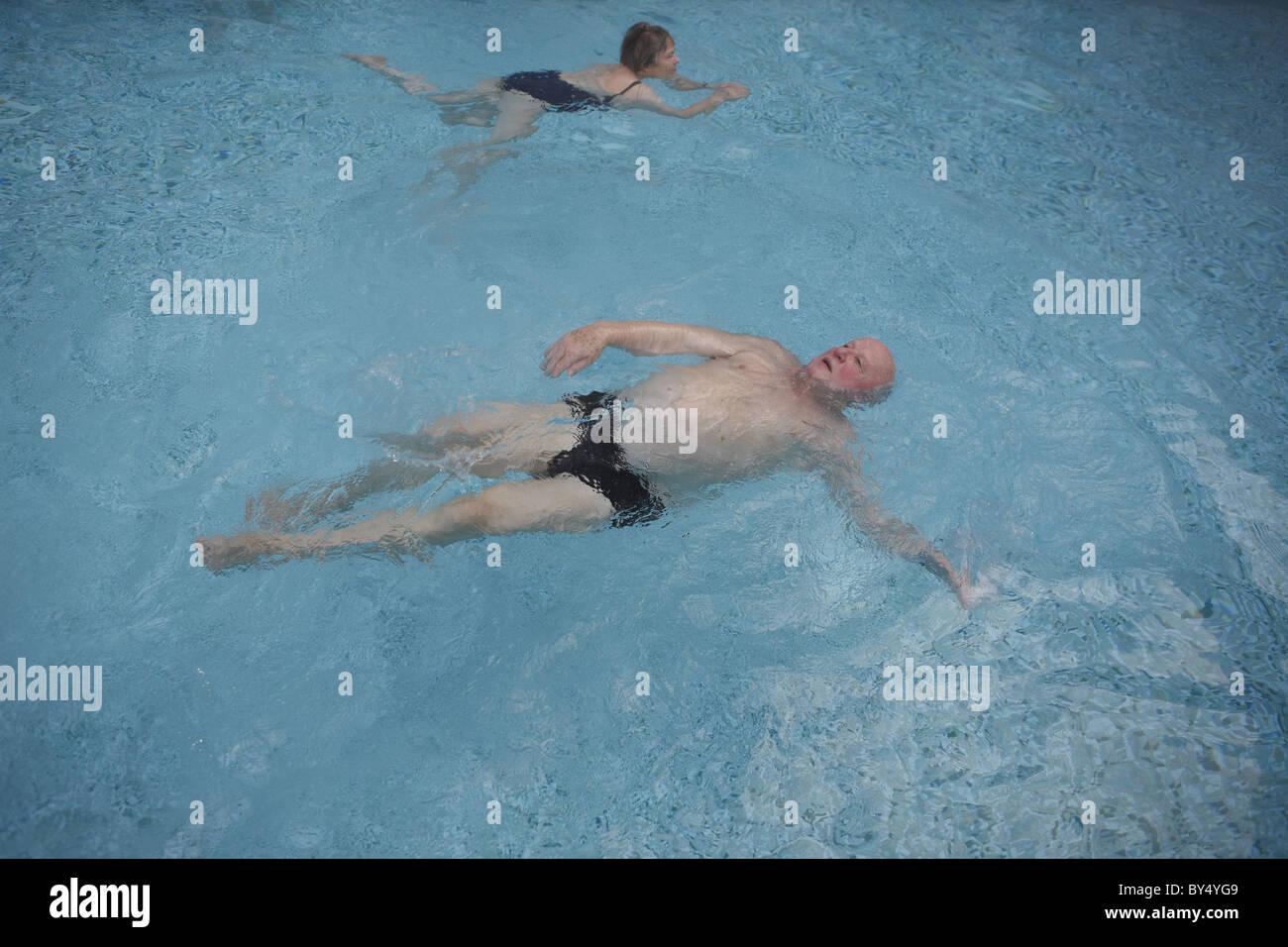 Germany, Bad Saarow, 20110117, men in a worm water basin, ©  Gerhard Leber - Stock Image