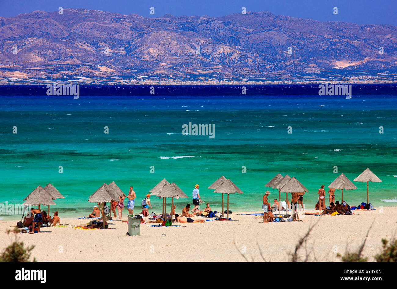 This is Chrissi  island, a small exotic island, a tiny paradise, 8 miles south of  Ierapetra, Lasithi, Crete, Greece Stock Photo