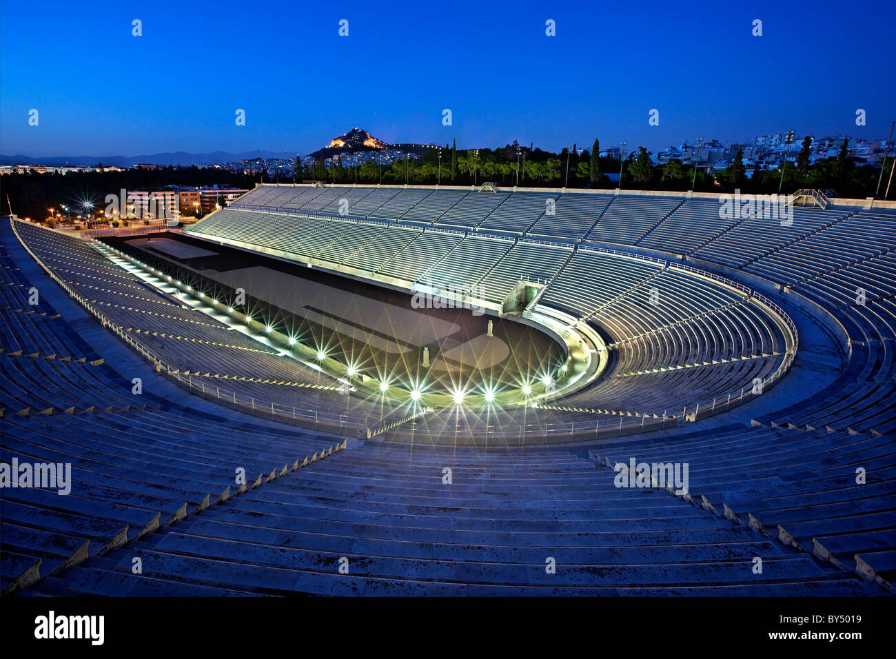 "The Panathenaic (or ""Panathinaiko"") stadium, also known as ""Kallimarmaro"", in the ""blue"" hour. Athens, Greece Stock Photo"