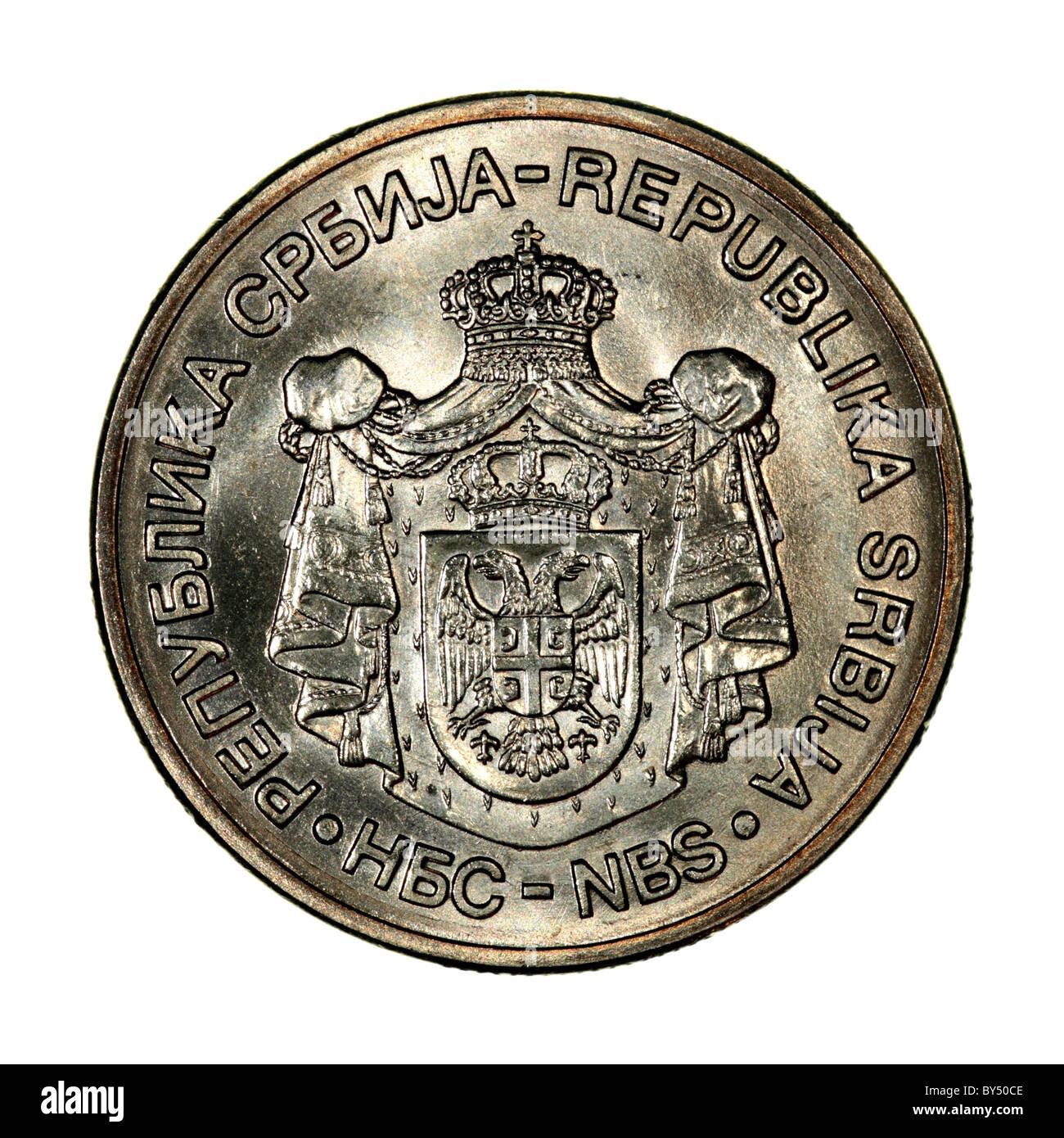 Serbian coin Dinar Stock Photo