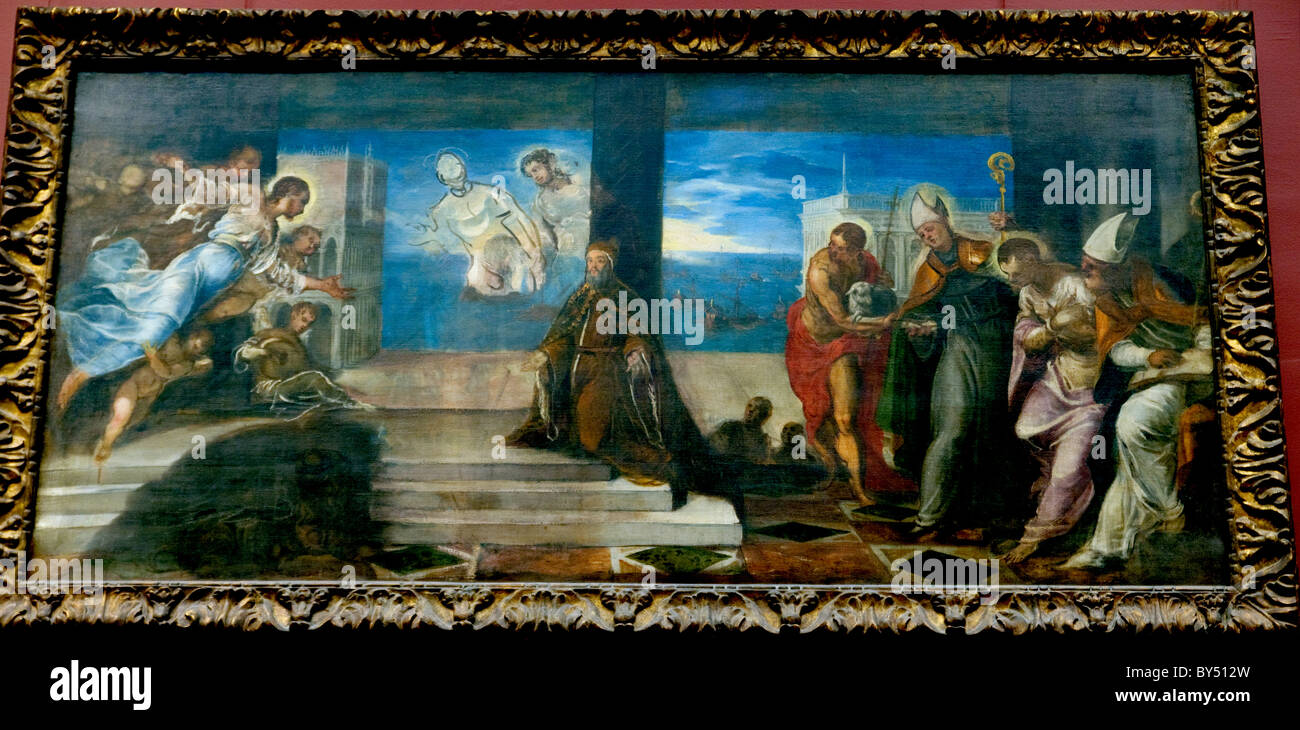 Doge Alvise Mocenigo (1507–1577) Presented to the Redeemer, probably 1577, by Tintoretto Stock Photo