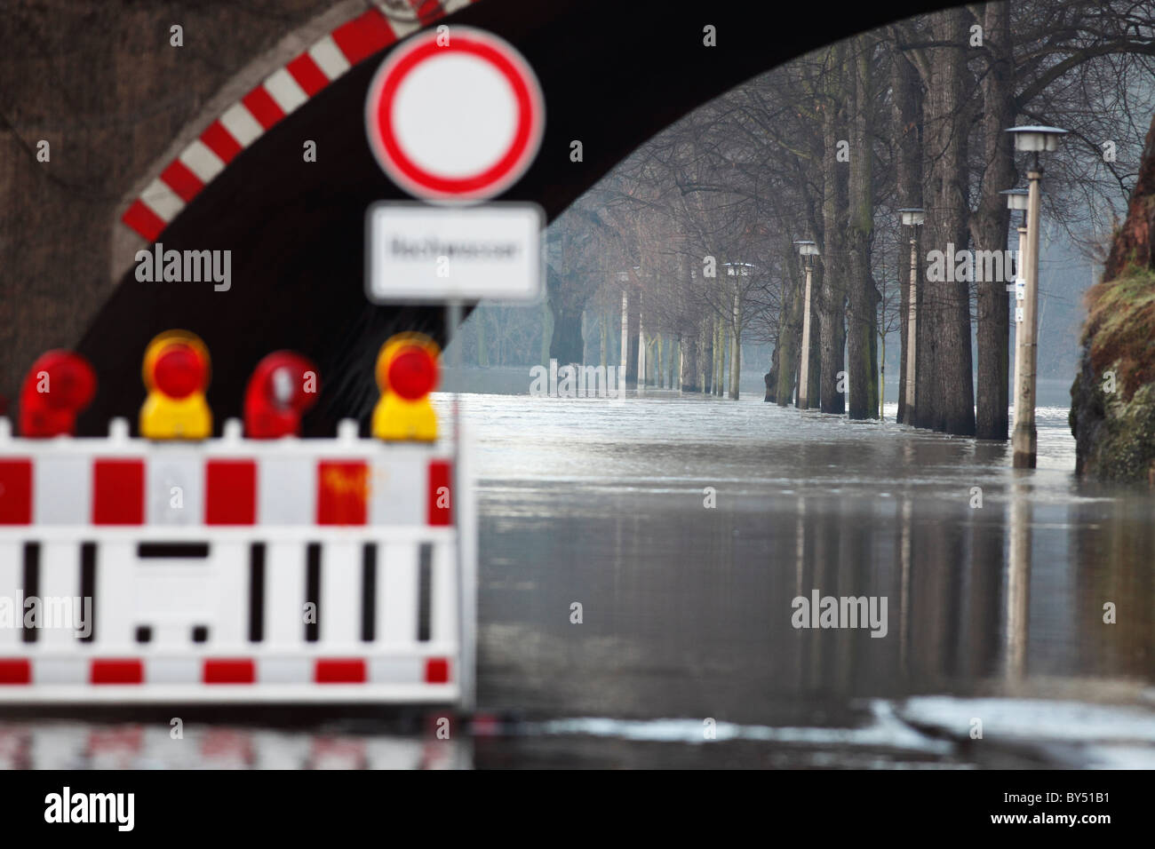 flooding of a road in Halle (Saale) 2013 - Stock Image