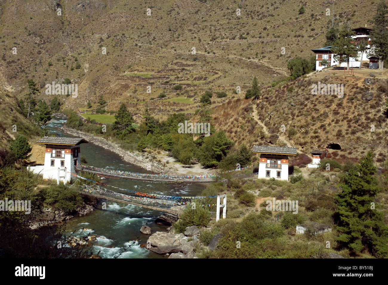 Bhutan's so-called iron bridge, built originally by a 16th-century monk, Thangton Gyelpo, around whose name - Stock Image