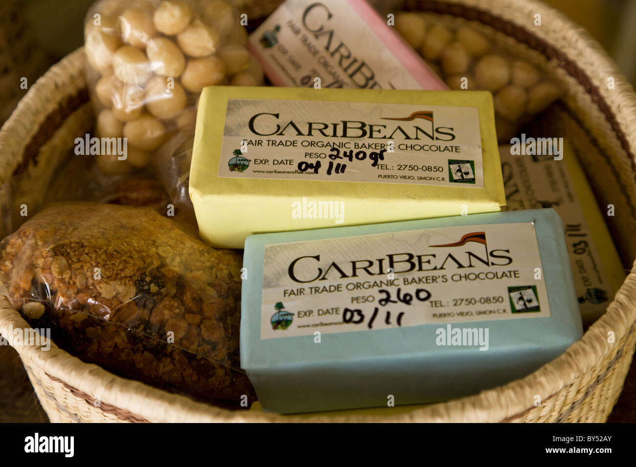 Caribeans fair trade organic chocolate in Puerto Viejo de Talamanca, Costa Rica. - Stock Image