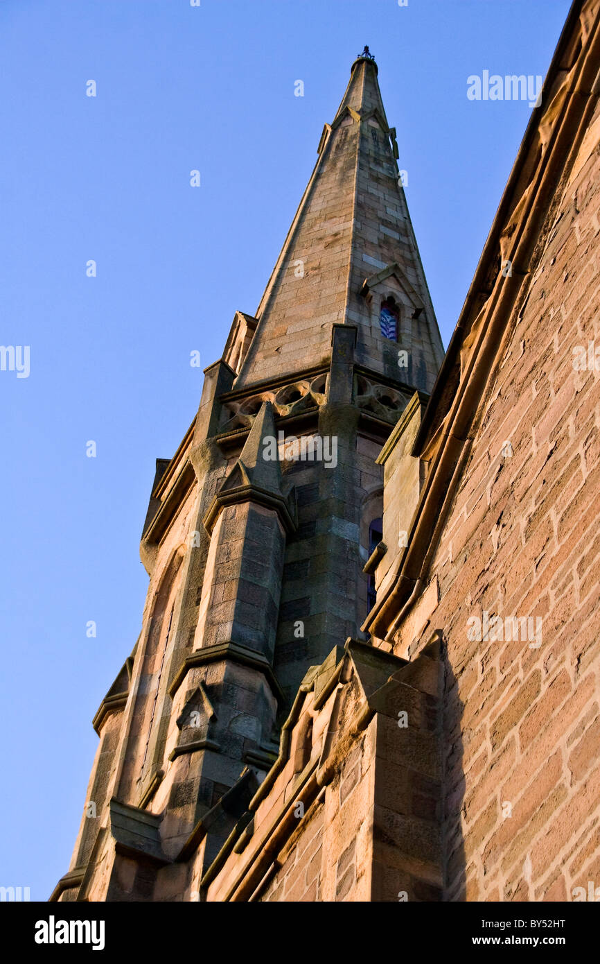 Portrait of the 1870 Lochee Parish Church steeple in Dundee,UK - Stock Image