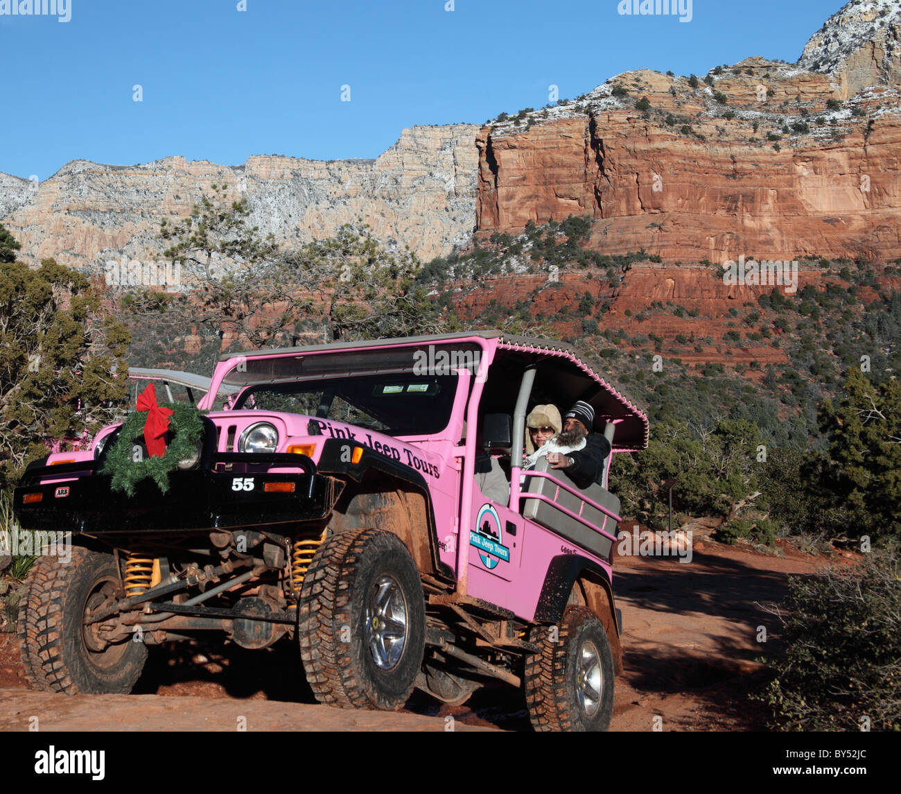 Pink Jeep Tour Vehicle With Holiday Wreath Explores Sedona   Stock Image
