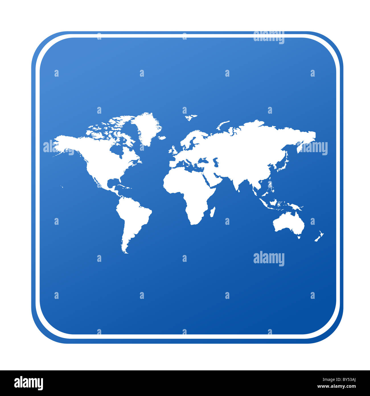 Map of World on blue button; isolated on white background. Stock Photo