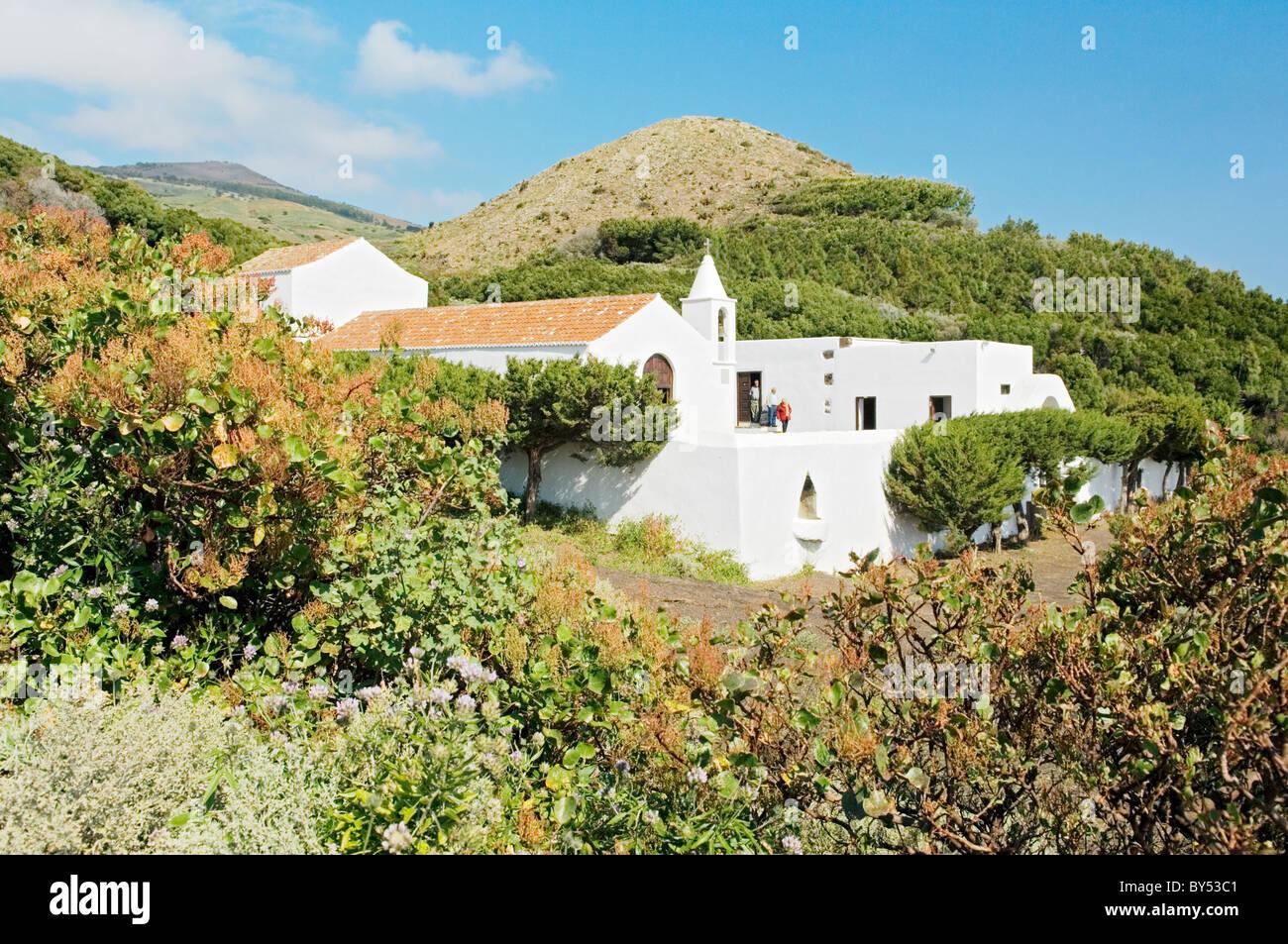 El Hierro, Canary Islands, Spain. Santuario de Nuestra Senora de Los Reyes at the island's west end. - Stock Image