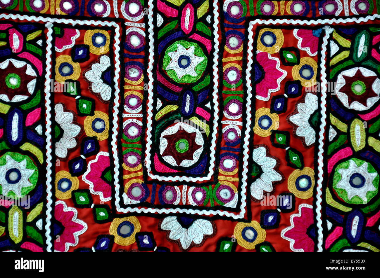 Mirror work on a clothe in Kutch, Gujarat, India - Stock Image