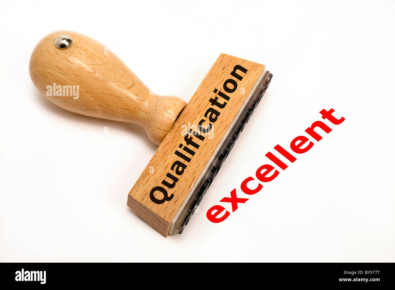 rubber stamp marked with Qualification and its copy excellent - Stock Image