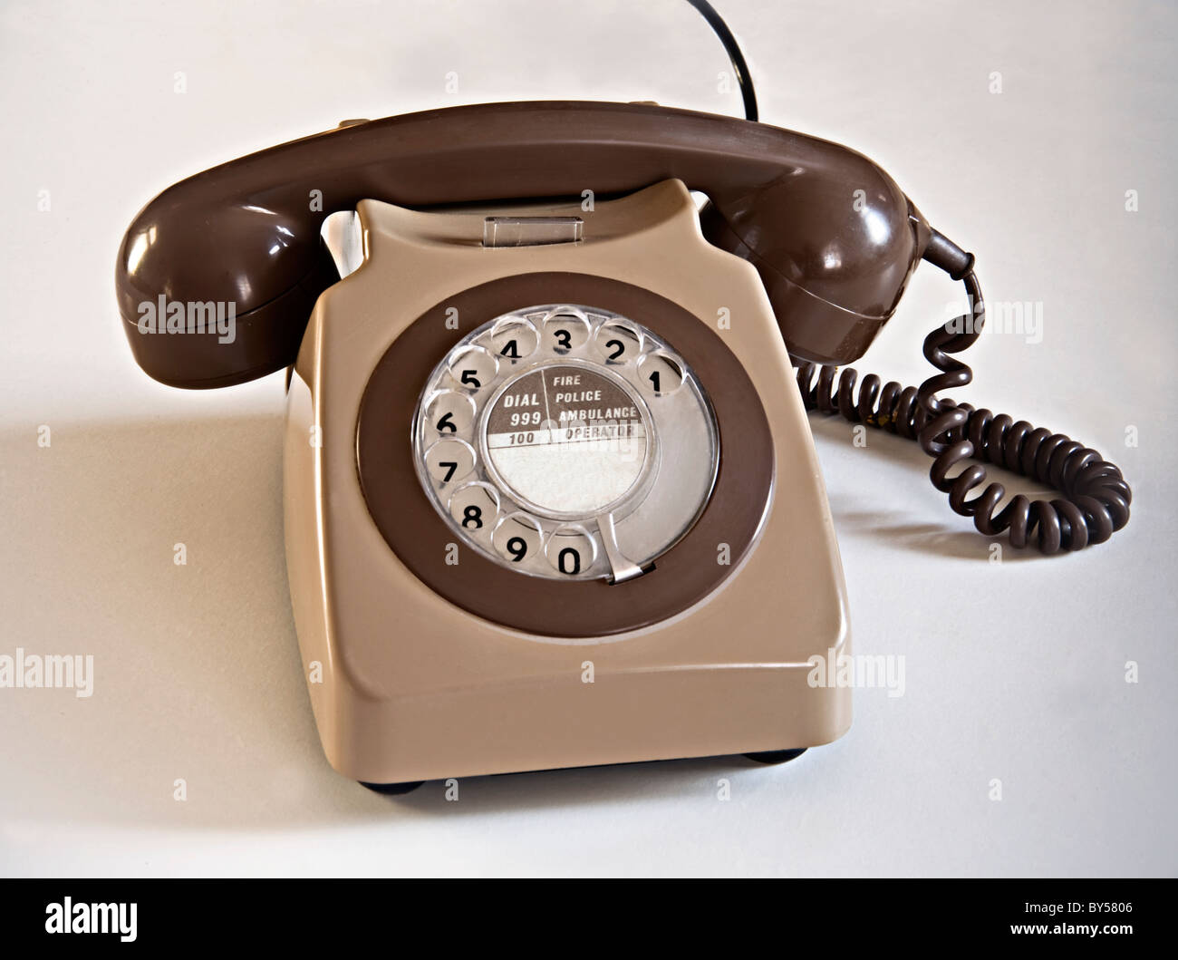 Telephone 1960s 1970s dial up - Stock Image